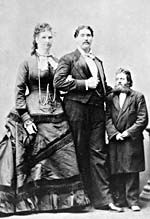 Photograph of Anna Swan and her husband beside a man of average height, between 1878 and 1888