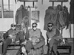 RCAF night fighter pilots wait in their dispersal huts wearing goggles to adjust their eyes to dark
