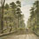 Watercolour showing man, child and dog walking along dirt road in wooded area, circa 1830