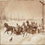 Drawing of three horsedrawn sleighs laden with people, racing along a country road, 1888