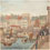 Watercolour scene of buildings and market alongside wharf with boats, 1829