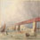 Watercolour showing boats and rafts passing under Victoria Bridge in Montr�al, circa 1860