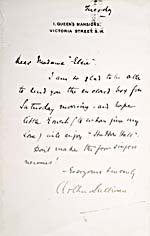 Handwritten note to Albani from composer Arthur Sullivan